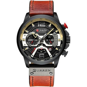 Mens Watch Casual Leather Sport Chronograph Black