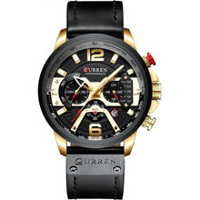 Load image into Gallery viewer, Mens Watch Casual Leather Sport Chronograph Gold Black