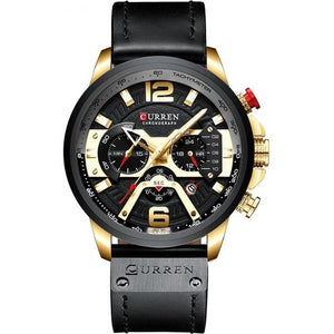 Mens Watch Casual Leather Sport Chronograph Gold Black