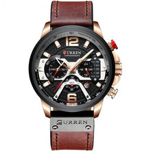 Load image into Gallery viewer, Mens Watch Casual Leather Sport Chronograph Rose Black