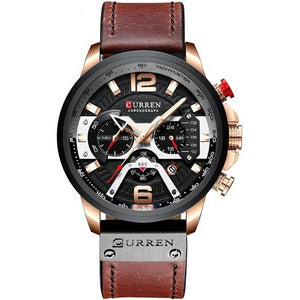 Mens Watch Casual Leather Sport Chronograph Rose Black