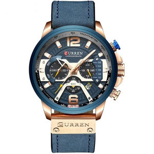 Mens Watch Casual Leather Sport Chronograph Rose Blue