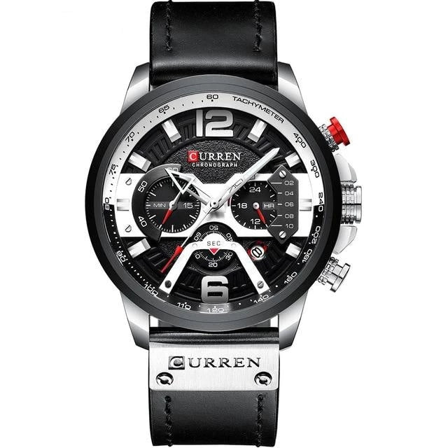 Mens Watch Casual Leather Sport Chronograph Silver Black