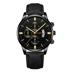 Mens Watch Chic Leather With Calendar Window A