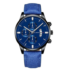 Mens Watch Chic Leather With Calendar Window B