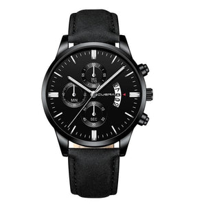 Mens Watch Chic Leather With Calendar Window D