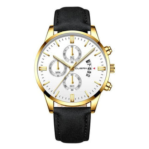 Mens Watch Chic Leather With Calendar Window E