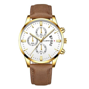 Mens Watch Chic Leather With Calendar Window F