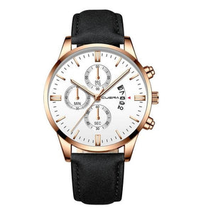 Mens Watch Chic Leather With Calendar Window H