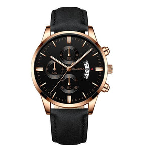 Mens Watch Chic Leather With Calendar Window J