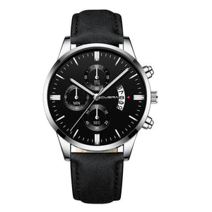 Mens Watch Chic Leather With Calendar Window M