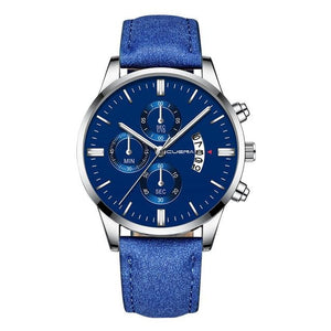 Mens Watch Chic Leather With Calendar Window N