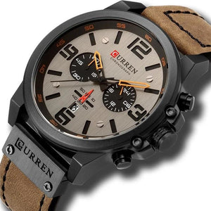 Mens Watch Genuine Leather Chronograph Black Brown