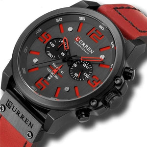 Mens Watch Genuine Leather Chronograph Black Red