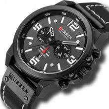 Load image into Gallery viewer, Mens Watch Genuine Leather Chronograph Black White