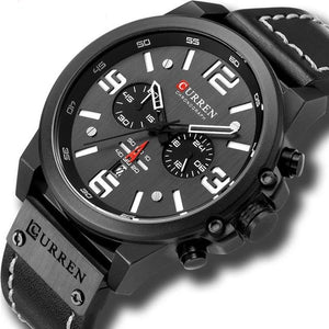 Mens Watch Genuine Leather Chronograph Black White