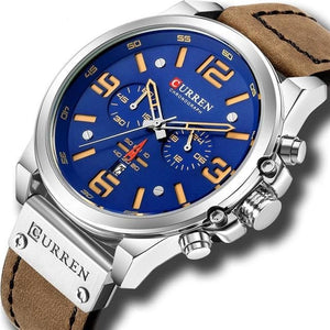 Mens Watch Genuine Leather Chronograph Silver Blue