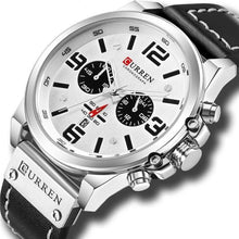 Load image into Gallery viewer, Mens Watch Genuine Leather Chronograph Silver White