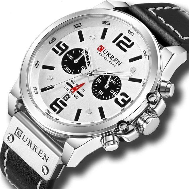 Mens Watch Genuine Leather Chronograph Silver White