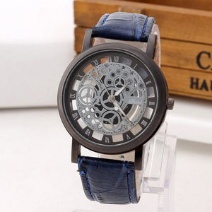Mens Watch Luxury Skeleton With Leather Blue