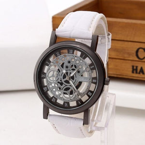 Mens Watch Luxury Skeleton With Leather White