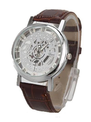 Mens Watch Luxury Skeleton With Leather
