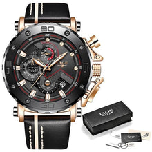 Load image into Gallery viewer, Mens Watch Military Large Dial Leather Sport Chronograph Rose Gold Black