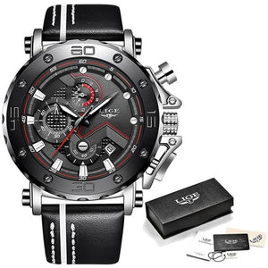 Mens Watch Military Large Dial Leather Sport Chronograph Silver Black