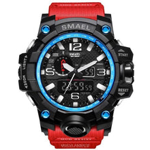 Load image into Gallery viewer, Mens Watch Military Waterproof Chronograph Sport Black Blue Red