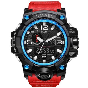 Mens Watch Military Waterproof Chronograph Sport Black Blue Red
