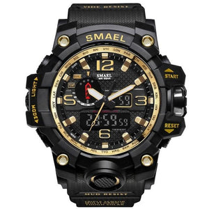 Mens Watch Military Waterproof Chronograph Sport Gold