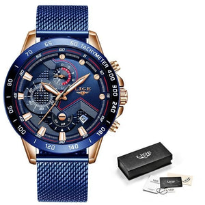 Mens Watch Waterproof Luxury Casual Chronograph Rose Gold All Blue