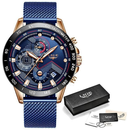 Mens Watch Waterproof Luxury Casual Chronograph Rose Gold Blue
