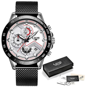 Mens Watch Waterproof Luxury Casual Chronograph Silver White