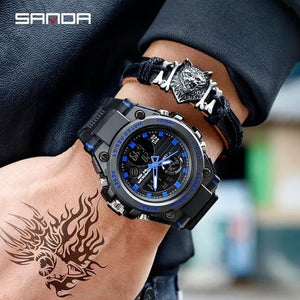 Mens Watch Waterproof Military Sport With Alarm Calendar Light Chronograph Blue