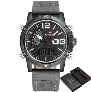 Military Casual Chronograph For Men Black Gray