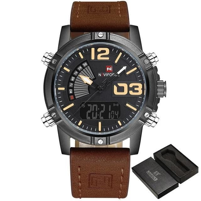 Military Casual Chronograph For Men Black Yellow