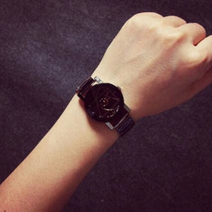Minimal Gear Mesh Steel Watch For Men And Women Black For