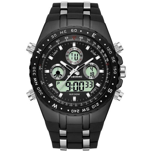 Multi-Functional Back-Lit Military Watch For Men Black