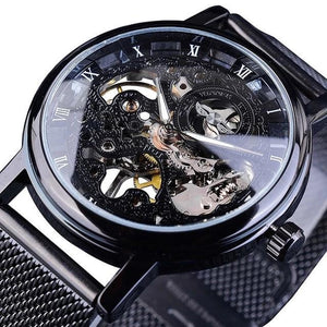 Slim Skeleton Steel Mechanism Watch For Men A