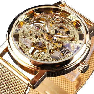 Slim Skeleton Steel Mechanism Watch For Men B