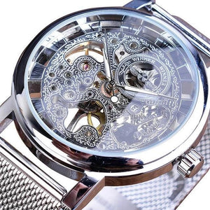 Slim Skeleton Steel Mechanism Watch For Men C