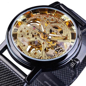 Slim Skeleton Steel Mechanism Watch For Men D