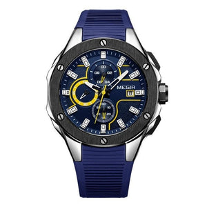 Sports Silicone Chronograph For Men Blue