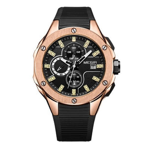 Sports Silicone Chronograph For Men Rose Black