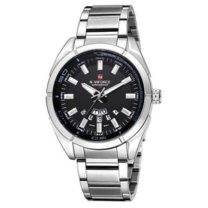 Stainless Steel Casual Masculine Watch For Men Silver Black