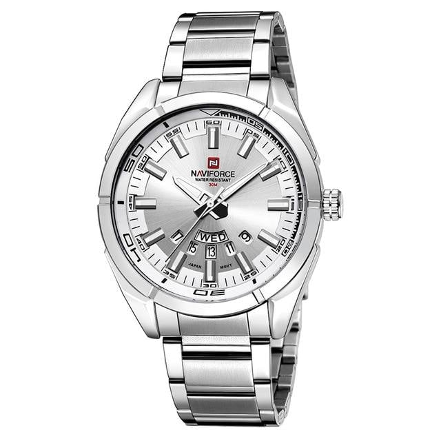 Stainless Steel Casual Masculine Watch For Men Silver White