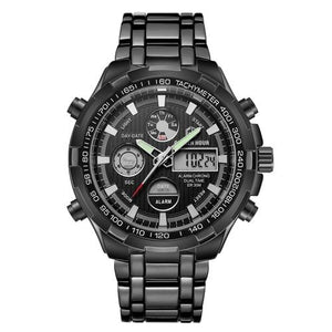 Stainless Steel Chronograph For Men Alarm And Back-Light Black