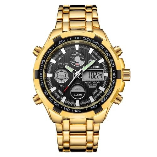 Stainless Steel Chronograph For Men Alarm And Back-Light Gold Black