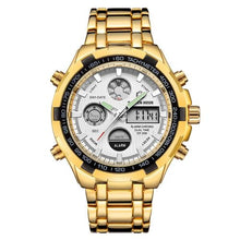 Load image into Gallery viewer, Stainless Steel Chronograph For Men Alarm And Back-Light Gold White